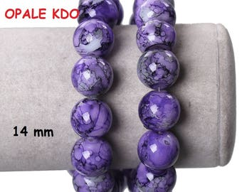Set of 6 glass beads round 14 mm colors: purple