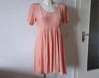 90s Rampage pale peach polka dot babydoll dress Pünktchenkleid boho bohemian grunge