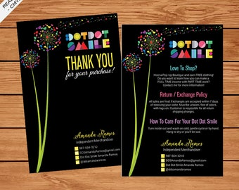 Dot Dot Smile Thank You Card, Dot Dot Smile Care Instructions Card, Custom Personal Thank You Card, DDS Care Instruction, Dandelion, DDS02