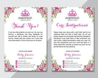 Paparazzi Thank You Card, Paparazzi Care Instructions Card, Back Office Logo, Fast Free Personalization, Paparazzi Business Card PZ04