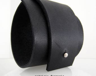 Cuff black leather - SEPIA