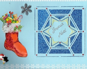 GREETING card Christmas sock