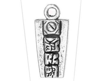A pendant, silver plated nickel free, 20 x 9 mm, thickness, 3.2 mm, 2.3 mm hole
