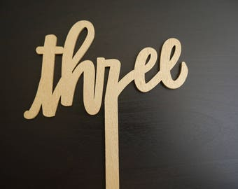 Three Wooden Cake Topper