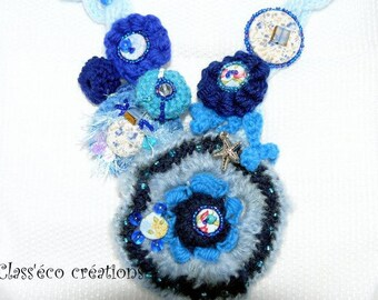 crocheted and beaded Starfish necklace