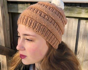 Hand Knit Ridges Hat With Fur Pompom