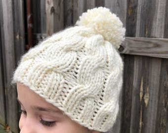 Hand Knit Child's Hat with Cables