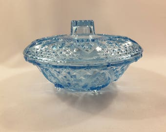 Blue Glass Candy Dish with Lid