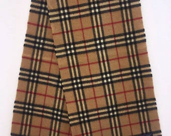 "Vintage Burberrys of London Nova Check Plaid Pattern  Lambswool Muffler Made in England 52.25"" X 11.50"""