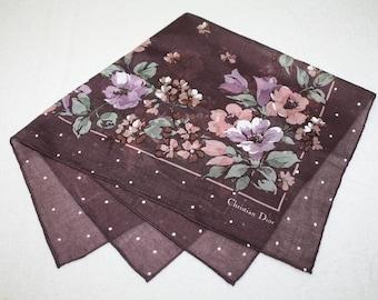 Christian Dior Brown Floral Design Handkerchief 17.50 x 17.50