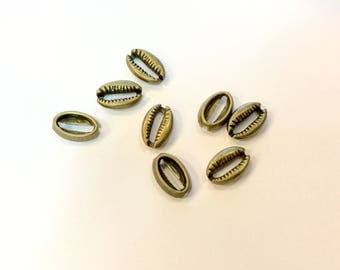 20 shells charms spacer 12x8mm bronze for creations of jewels