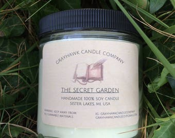 The Secret Garden: Literary, Scented Soy Candle, Phthalate Free, GrayHawk Candle Company