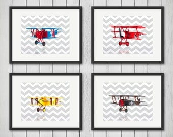 Discount set of 4 Nursery Airplanes, boys room decor, kids wall art, nursery print, airplane nursery, airplane decor, airplane print
