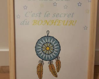 """Poster with quote """"Dream your life in color, this is the secret of happiness""""."""