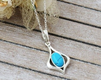 Turquoise Necklace, Sterling Silver Turquoise Pendant, Silver Pendant, Gift for Wife, December Birthday Gift, Gift for Women