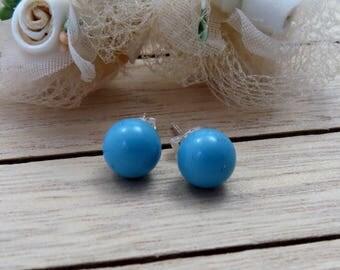 Turquoise Pearl Studs, Swarovski Turquoise Bridal Earrings, Blue Studs, Pearl Stud Earrings, Bridesmaid Gift, Wedding Jewelry