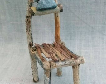 Miniature Rustic Fairy Chair Made With Twigs, Tree Bark, Small Piece Of Red Jasper Crystal and Small Grey Stone