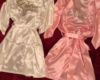 Satin Robe Glitter Customized