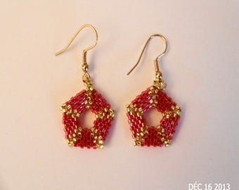 In yellow and Red Delica peyote earrings