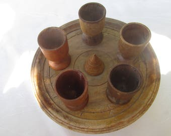 Vintage wooden cups, Set of wooden cups with a stand, Little cups, Bulgarian vintage cups, Home decor, Cups for eggs