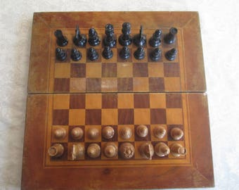 Vintage chess and backgammon,Big Chess, Backgammon game, Wooden Chess Set, Family game, Board game, Backgammon Chess game