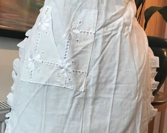 Vintage white cotton half apron