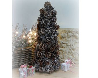 PINE CONE CHRISTMAS Tree, Glitter Festive Tabletop Decoration 35cm
