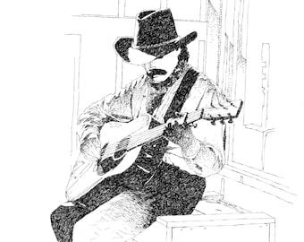 "Original art, pen & ink, ""Singing Cowboy"""