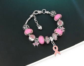 Breast Cancer Awareness stunning Charm Bracelet (charity fundraiser)