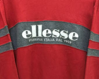 Rare!!! Vintage 90's ellesse Sweatshirt big logo spellout embroidery pullover jumper sweater stripes sportwear