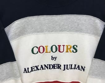 Rare!!! Coloursport by Alexander Julian Sweatshirt Pullover Spellout Multicolors Embroidered Stripes