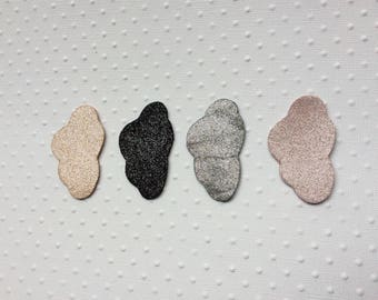 glittery leather cloud brooch