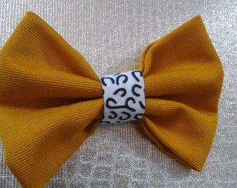 Bowtie fabric mustard yellow and white wax