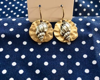 Gold with silver conch shell earrings
