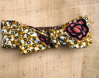 Baby tie headband, turban ethnic reversible fabric African wax, for baby girl and woman, beige-pink wax