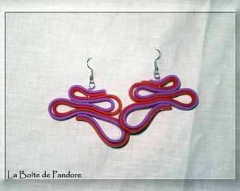 Two-tone earrings pink and purple