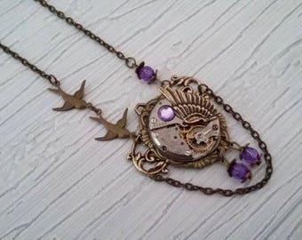 Steampunk 2 birds pendant necklace