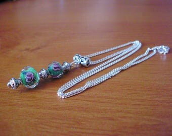 Necklace, retro chic Silver 925, green Lampwork beads