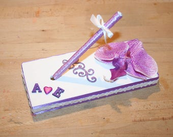 wedding pen holder book Orchid violet purple and white lace, customizable