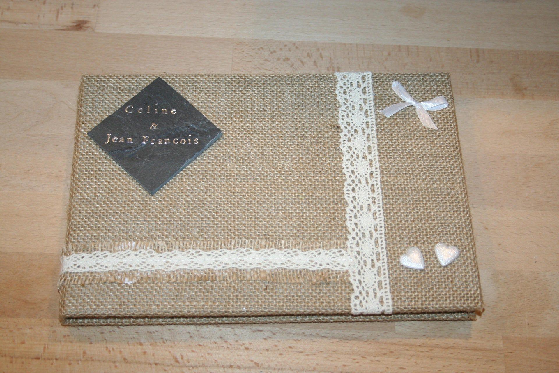 livre d 39 or mariage champetre campagnard jute dentelle et. Black Bedroom Furniture Sets. Home Design Ideas