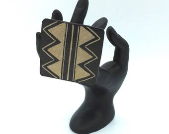 Square gourd ethnic motif ring