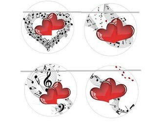 12mm, 4 notes and heart cabochons