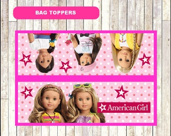 80% OFF American Doll Girl Toppers instant download, Printable American Doll Girl Bags toppers, American Doll Girl Treat bags toppers
