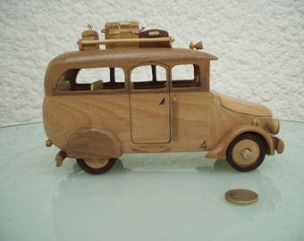 Miniature of a bus. Brown beech wood