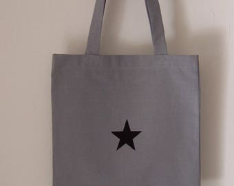 Bag type Tote bag in cotton with Black Star