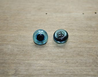 Pair of glass eyes vintage sewing 12mm blue color