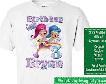 Shimmer and Shine Birthday Shirt/Shimmer and Shine Stickers/Shimmer and Shine Invitations/Shimmer and Shine Party Supplies/Shimmer and Shine