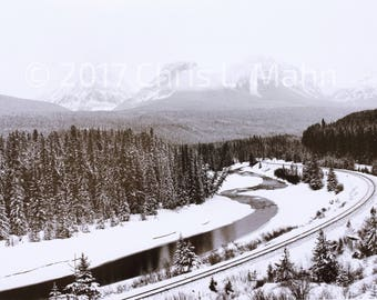 Canadian Rockies B&W Photo
