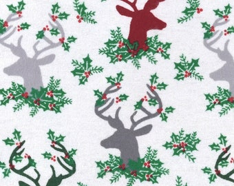 Christmas reindeer fabric fabric by the yard cotton by the yard christmas deer fabric christmas deer prints deer fabric reindeer fabric