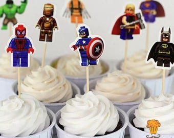 12x Lego Superhero Food Cupcake Cake Topper Pick. Party Supplies Bunting Lolly Loot Bags Favour Batman Avengers superman thor